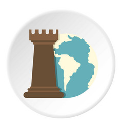 globe earth and chess rook icon circle vector image