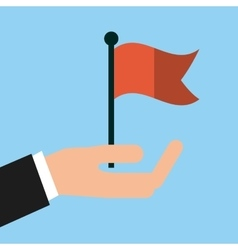 Hand with red flag icon vector
