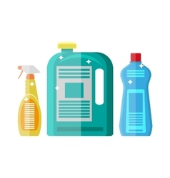 Household chemistry cleaning plastic bottles vector