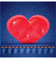 Jeans background with heart vector