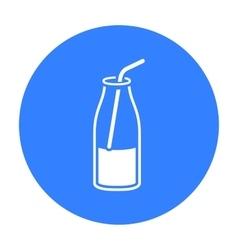 Liquid yogurt icon black single bio eco organic vector