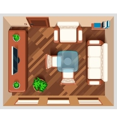 Living room with furniture top view vector image vector image