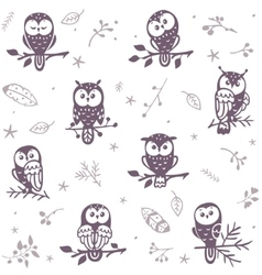 owl seamless background vector image vector image