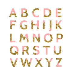 Pink and gold glitter font vector