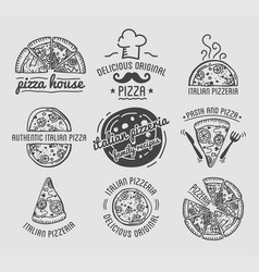 Pizza icons set templates for fast food or vector