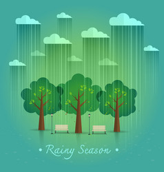 Rainy season in park natural landscape in the flat vector