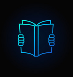 reading a book blue icon vector image