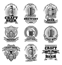 Retro beer pub emblems vintage traditional vector