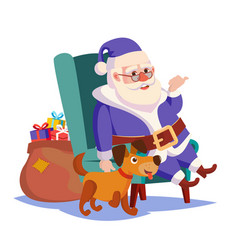 Santa claus sitting on chair funny dog vector