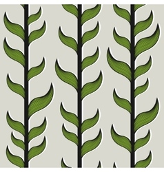 Seamless pattern with bamboo trees and leaves vector