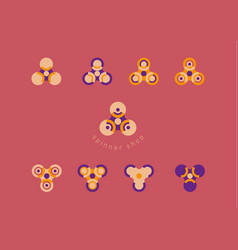 set creative geometric modern logo fidget spinners vector image vector image
