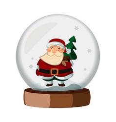 snowball cartoon with santa claus vector image vector image