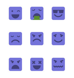 squared emoticons icons set vector image