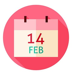 Valentine day calendar date circle icon vector