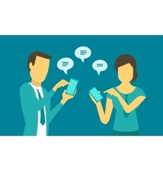 Woman and man exchange messages in the phone vector image vector image