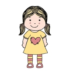 Little girl cute icon vector