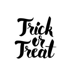 Trick or treat handwritten card vector