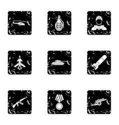 Military defense icons set grunge style vector