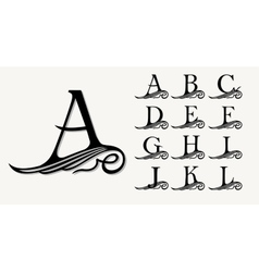 Vintage set 1 calligraphic capital letters with vector