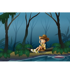 A male explorer relaxing near the riverbank vector