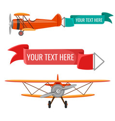 Two biplanes with advertising posters air vector