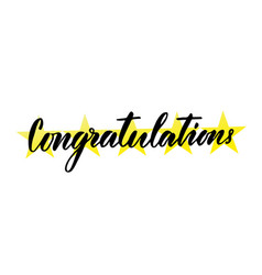 Congratulations hand lettering greeting card with vector