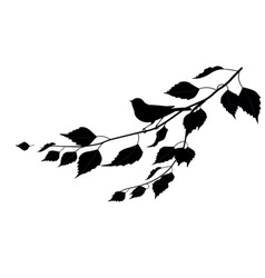 Bird on a branch silhouette vector