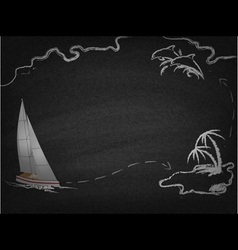 Yacht in ocean drawn on blackboard vector