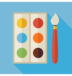 Flat palette with colorful paints and paintbrush vector