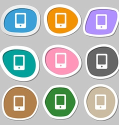 Tablet icon symbols multicolored paper stickers vector