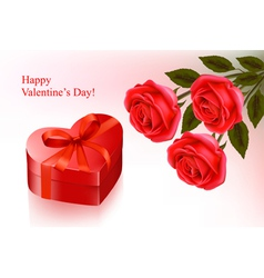Red roses and gift red box vector