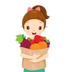 Girl holding bag full of fruits vector