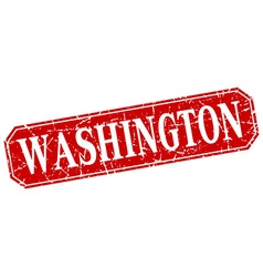 Washington red square grunge retro style sign vector