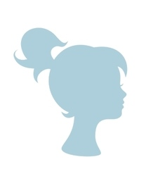 Blue silhouette profile of a young girl vector