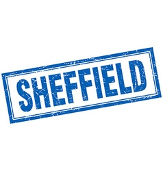Sheffield blue square grunge stamp on white vector