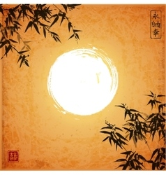 Bamboo trees and the moon vector