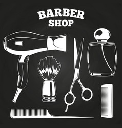 barber shop objects for labels vector image vector image