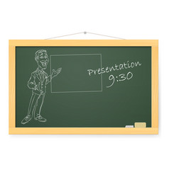 Blackboard with man and organizing presentations vector