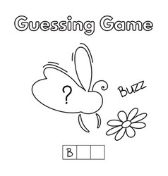 Cartoon bee guessing game vector