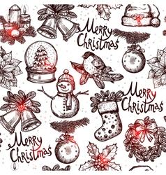 Christmas Monochrome Seamless Pattern vector image vector image