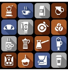Coffee icons flat shadow set vector image