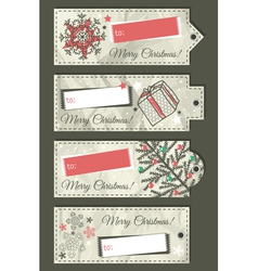 Crumple christmas labels with place for text vector