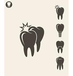 Dental hygiene Stylized teeth on gray background vector image