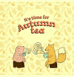 Fable card for autumn tea vector