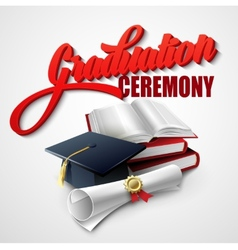 Graduation ceremony book hat and certificate vector