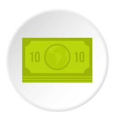 Green money banknote icon circle vector
