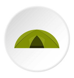 Green tent for camping icon circle vector