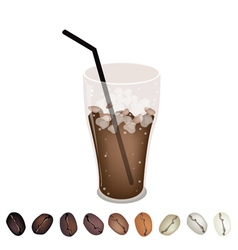 Iced coffee and beans vector