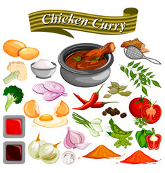 Ingredient for indian chicken curry recipe with vector