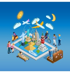 Isometric poster with landmarks set vector
